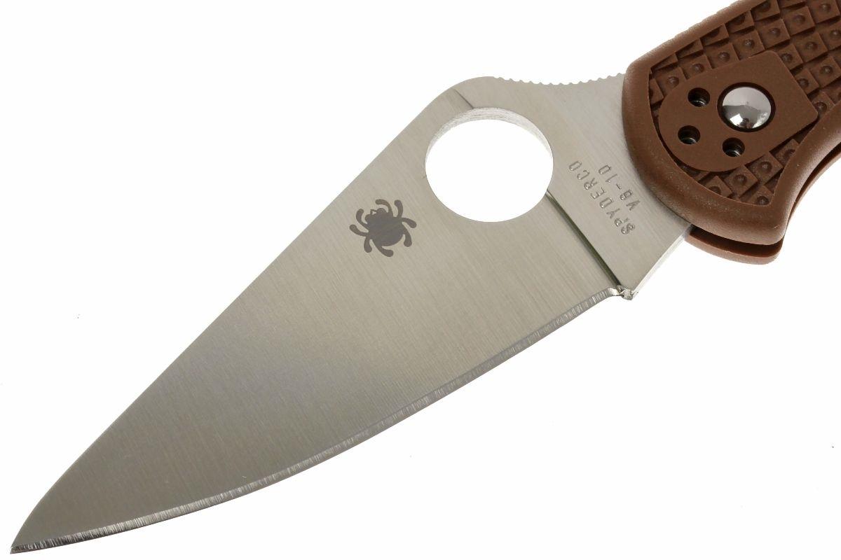 Фото 13 - Складной нож Spyderco Delica 4 Flat Ground - 11FPBN, сталь VG-10 Satin Plain, рукоять термопластик FRN, коричневый