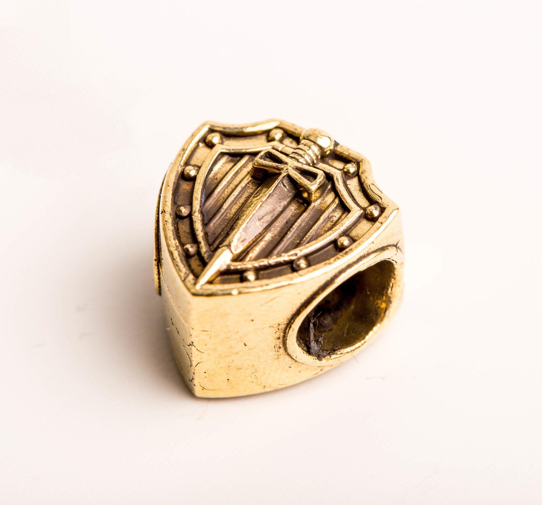 Бусина Щит и Меч, бронза от Replica House
