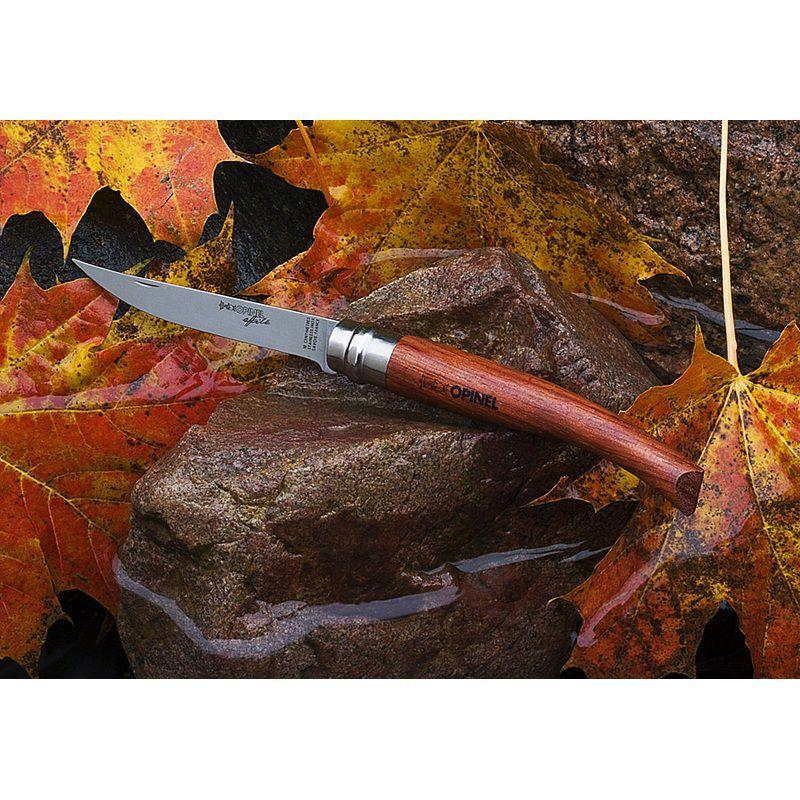 Фото 6 - Нож складной филейный Opinel №8 VRI Folding Slim Bubinga, сталь Sandvik 12C27, рукоять из дерева бубинго, 000015