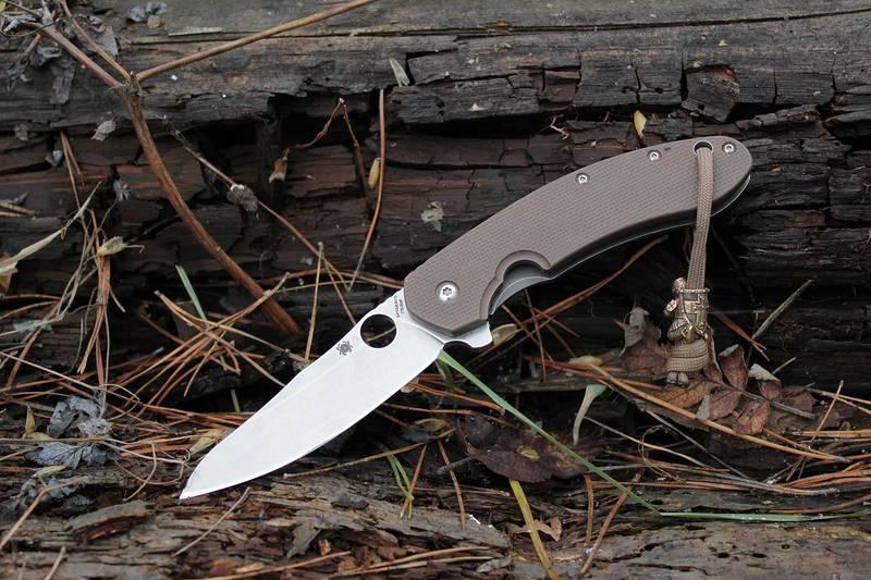 Фото 10 - Нож складной Southard Folder™ - Spyderco 156GPBN, сталь Carpenter CTS™ - 204P Micro-Melt® Alloy Stonewash Plain, рукоять титан/стеклотекстолит G10 коричневый