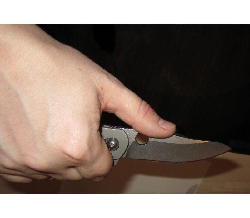 Фото 12 - Нож складной Southard Folder™ - Spyderco 156GPBN, сталь Carpenter CTS™ - 204P Micro-Melt® Alloy Stonewash Plain, рукоять титан/стеклотекстолит G10 коричневый