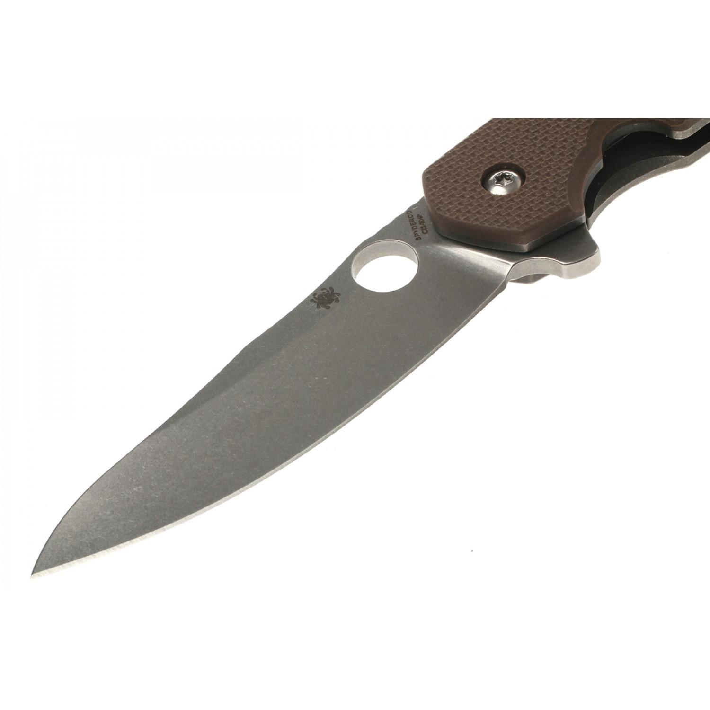 Фото 13 - Нож складной Southard Folder™ - Spyderco 156GPBN, сталь Carpenter CTS™ - 204P Micro-Melt® Alloy Stonewash Plain, рукоять титан/стеклотекстолит G10 коричневый