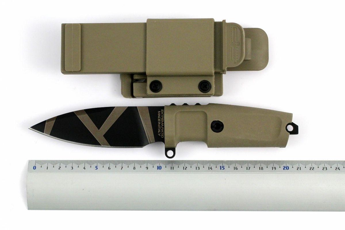 Фото 5 - Нож с фиксированным клинком Extrema Ratio Shrapnel OG Desert Warfare - Laser Engraving, сталь Bhler N690, рукоять пластик