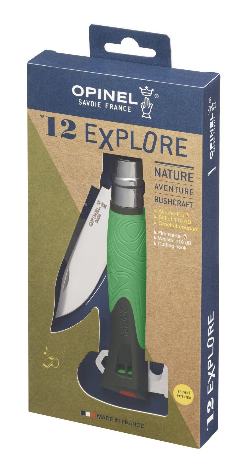 Фото 5 - Складной нож Opinel №12 Explore, нержавеющая сталь Sandvick 12C27, рукоять термопластик, зеленый