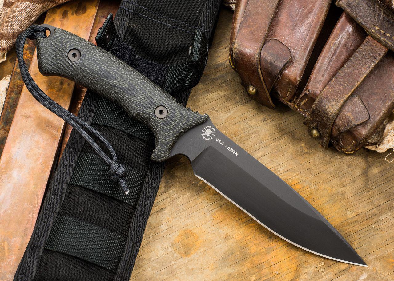 Фото 8 - Нож с фиксированным клинком Spartan Blades Harsey Difensa, сталь CPM-S35VN Tungsten DLC, рукоять черная микарта, чехол черный