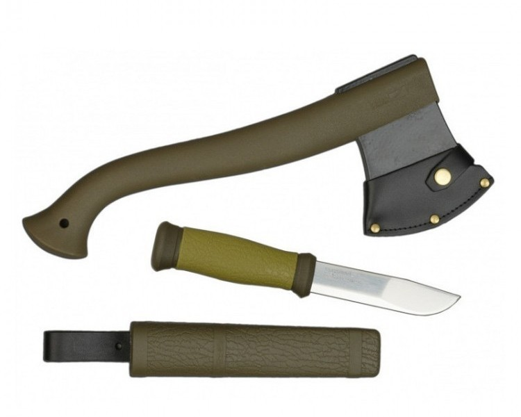 Набор Morakniv Outdoor Kit MG, нож Morakniv 2000 сталь Sandvik 12C27, цвет зеленый + топор