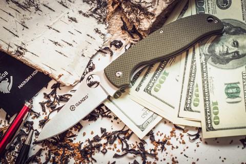 Складной нож Ganzo G734, зеленый - Nozhikov.ru