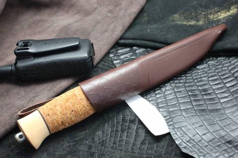 Нож с фиксированным клинком Brusletto Fiskern, сталь 440C, рукоять пробковое дерево/береза. Вид 6