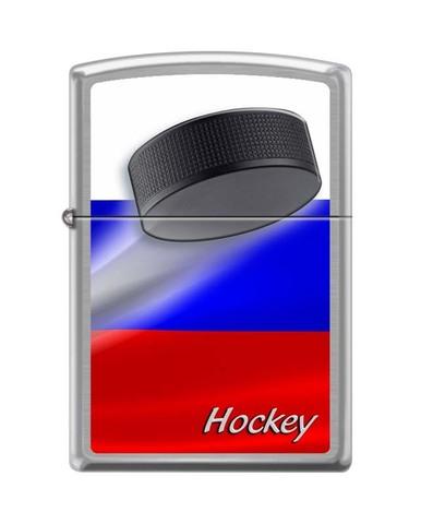 Зажигалка ZIPPO Российский хоккей, латунь/сталь с покрытием Brushed Chrome, серебристая, 36x12x56 мм. Вид 1