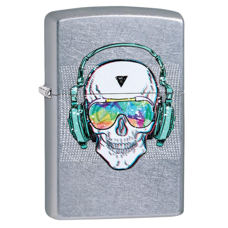 Зажигалка ZIPPO Skull Headphone с покрытием Street Chrome™, латунь/сталь, серебристая, 36x12x56 мм