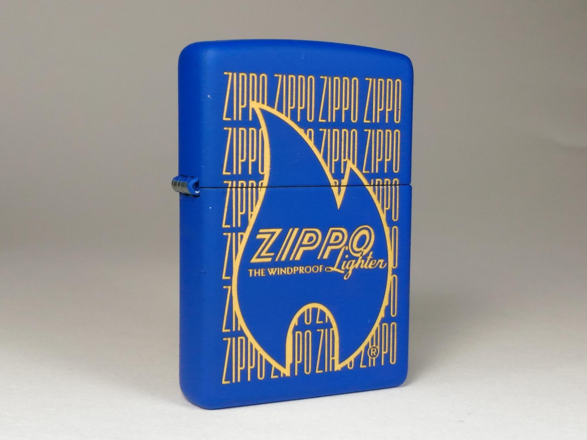 Зажигалка ZIPPO 229 Zippo Logo Variation с покрытием Blue Matte, латунь/сталь, синяя, 36x12x56 мм