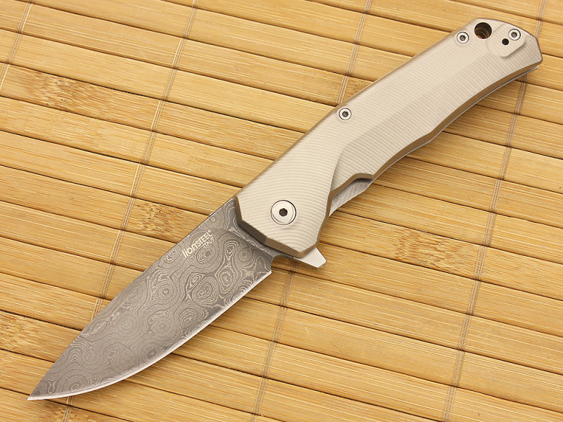 Фото 8 - Нож складной LionSteel T.R.E. Damascus RAINDROP, TRE DR GY, сталь дамаск, рукоять титан от Lion Steel