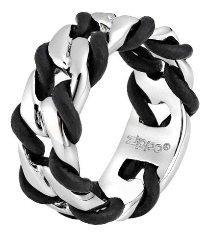 Кольцо ZIPPO, серебристо-чёрное, нержавеющая сталь, 0,9x0,35 см, диаметр 19,1 мм