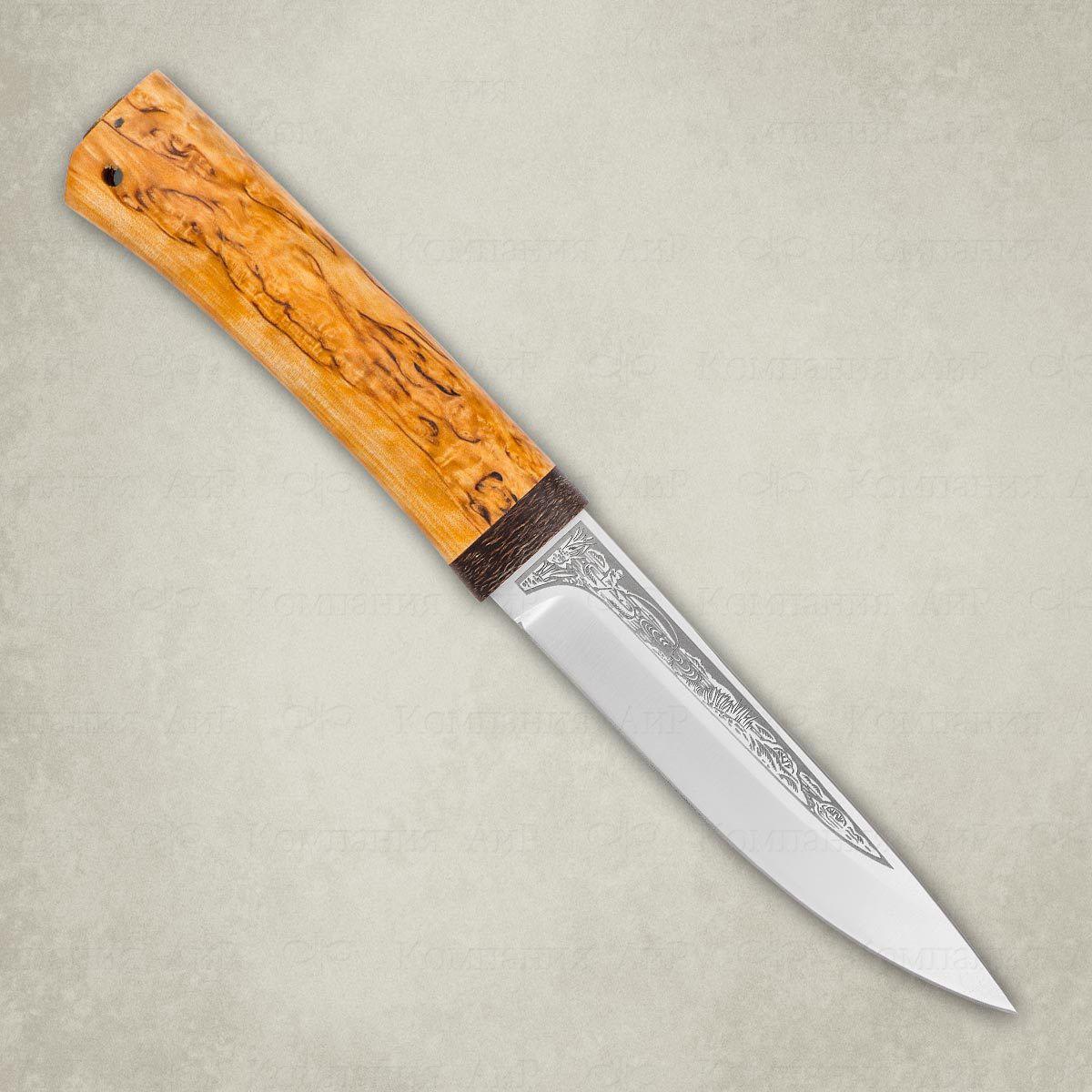 Фото 2 - Нож Пескарь, карельская береза, 95х18 от АиР