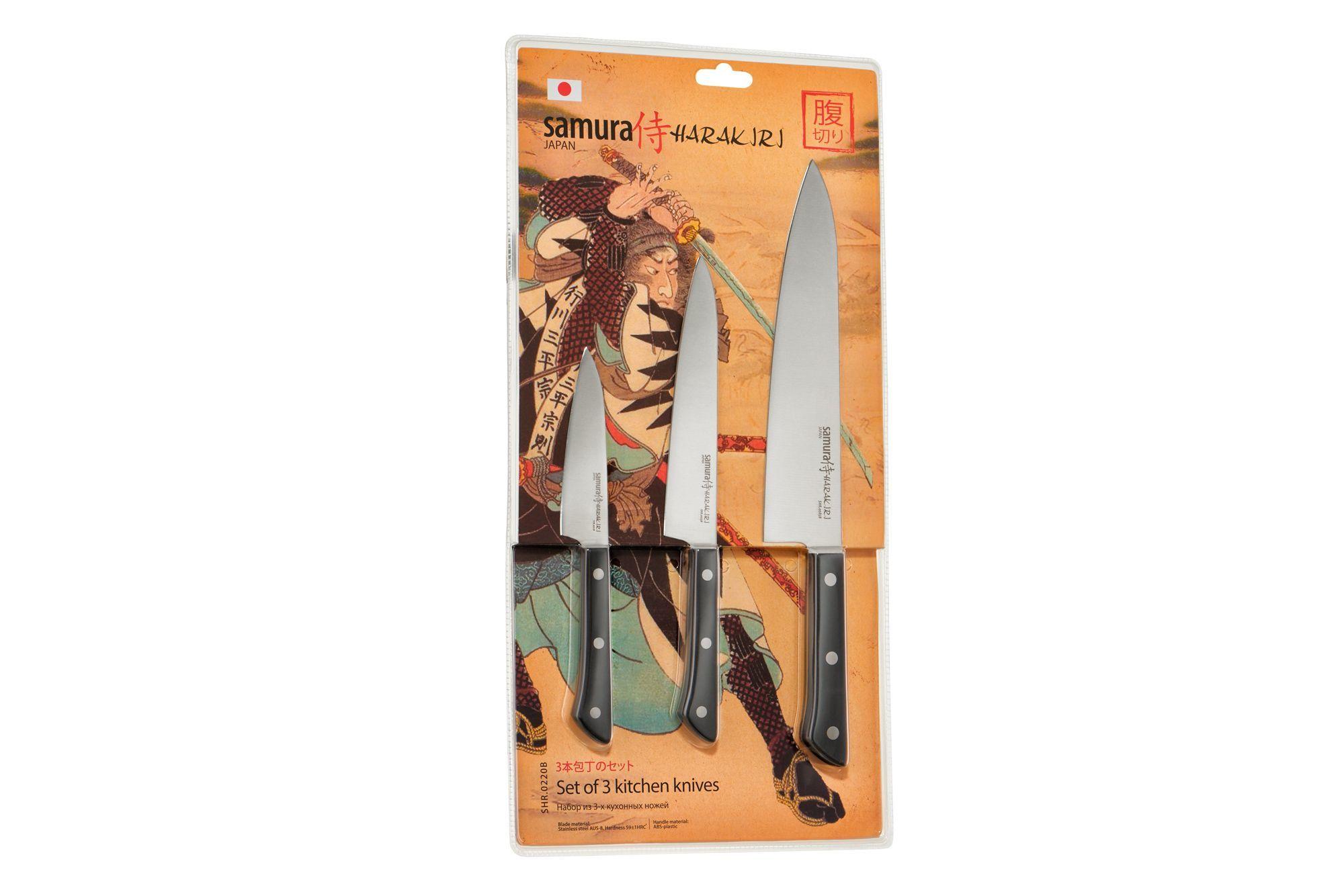 Фото 4 - Набор из 3 кухонных ножей Samura Harakiri -