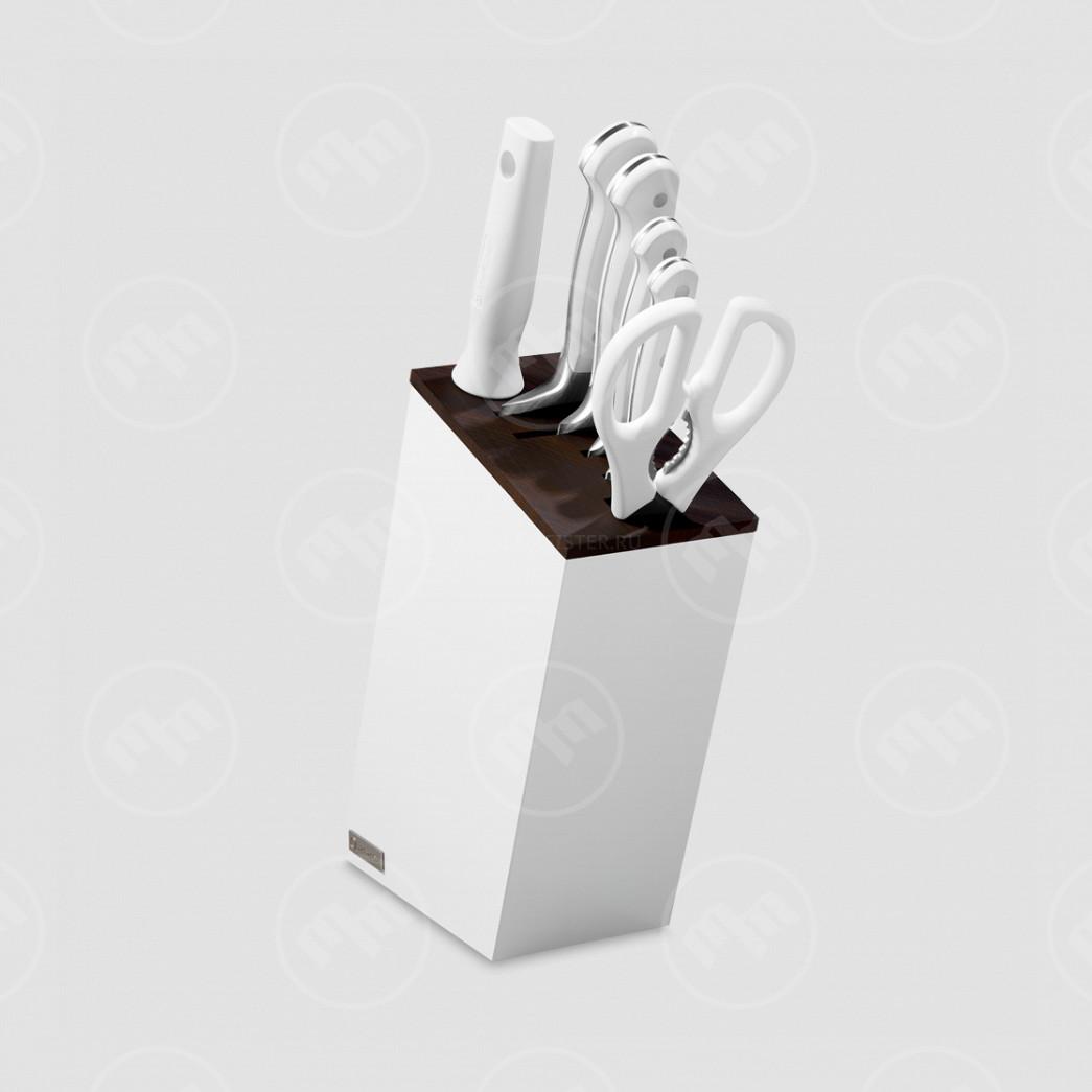 Набор кухонных ножей 4 шт. + кухонные ножницы мусат в подставке White Classic, WUESTHOF