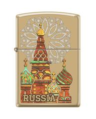 Зажигалка ZIPPO Россия с покрытием High Polish Brass