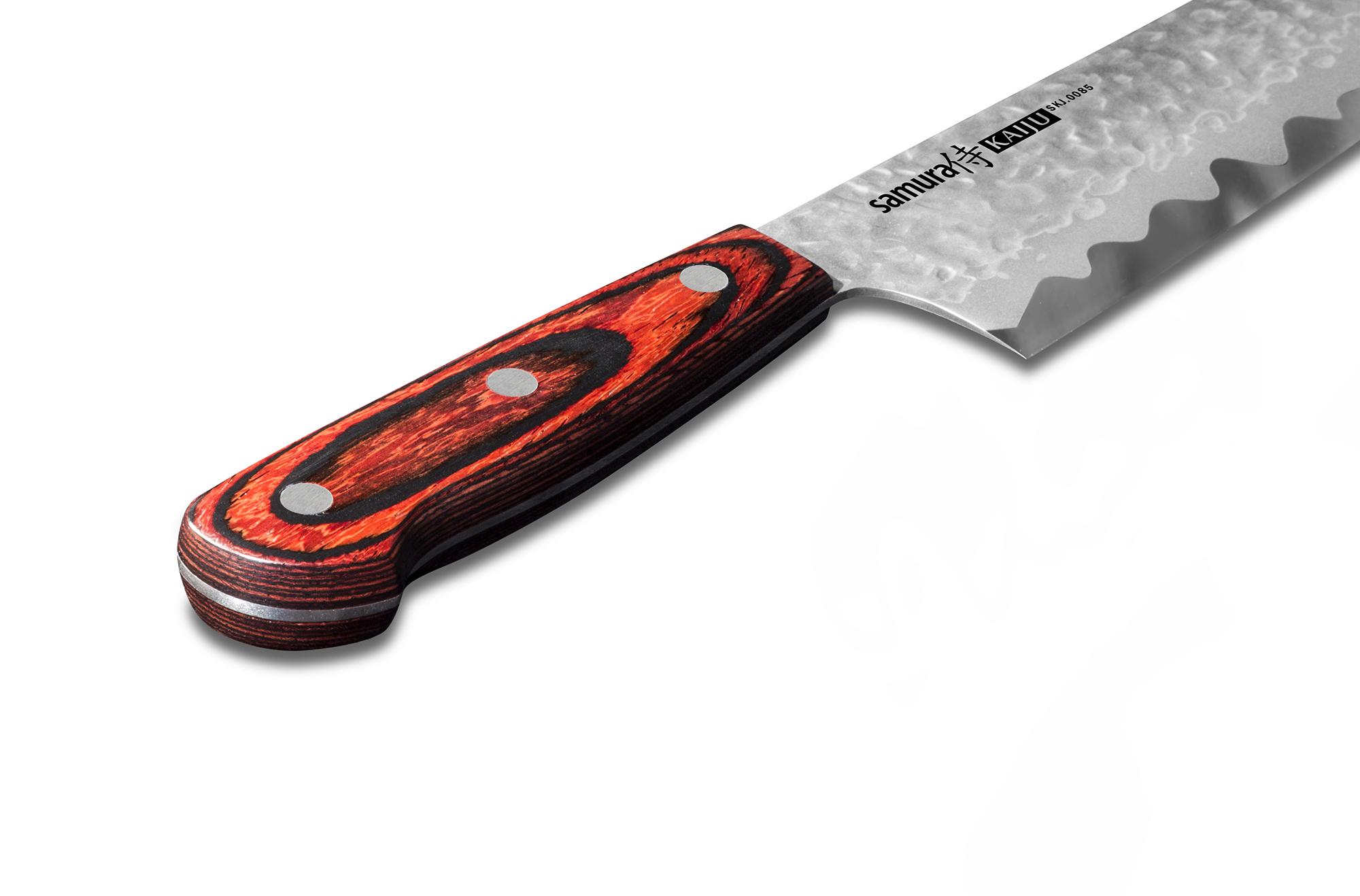Фото 5 - Нож кухонный Samura KAIJU Шеф - SKJ-0085, сталь AUS-8, рукоять дерево, 210 мм