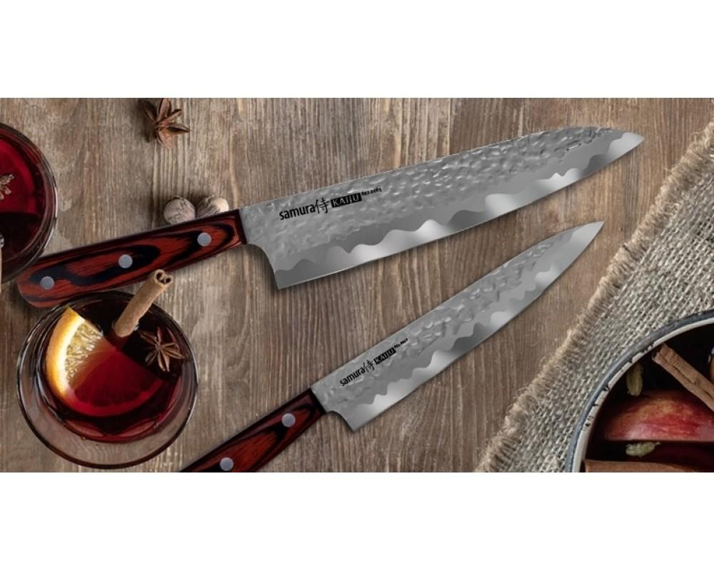 Фото 7 - Нож кухонный Samura KAIJU Шеф - SKJ-0085, сталь AUS-8, рукоять дерево, 210 мм