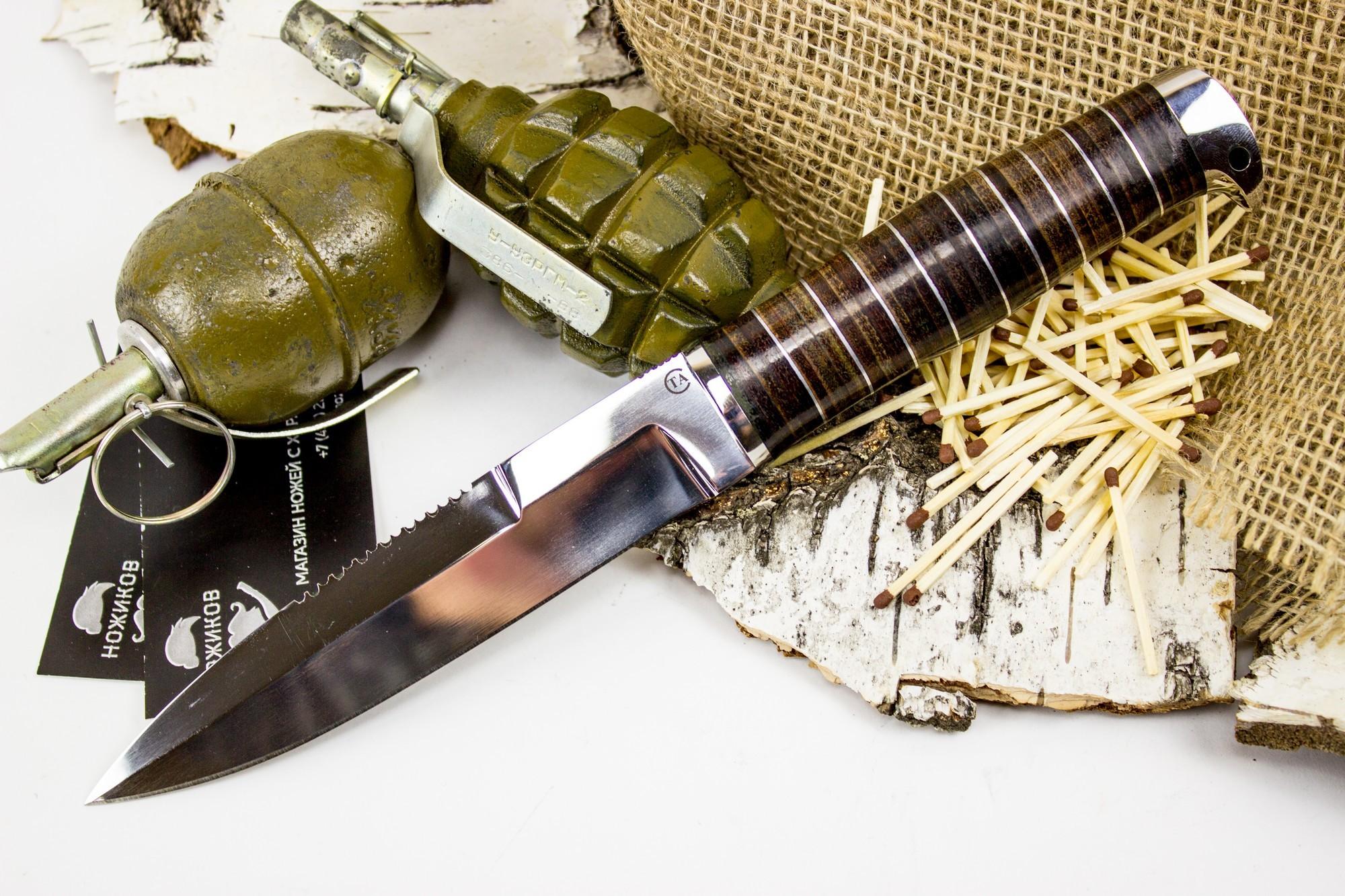 Фото 5 - Нож Пограничник, сталь 95х18, кожа от Титов и Солдатова