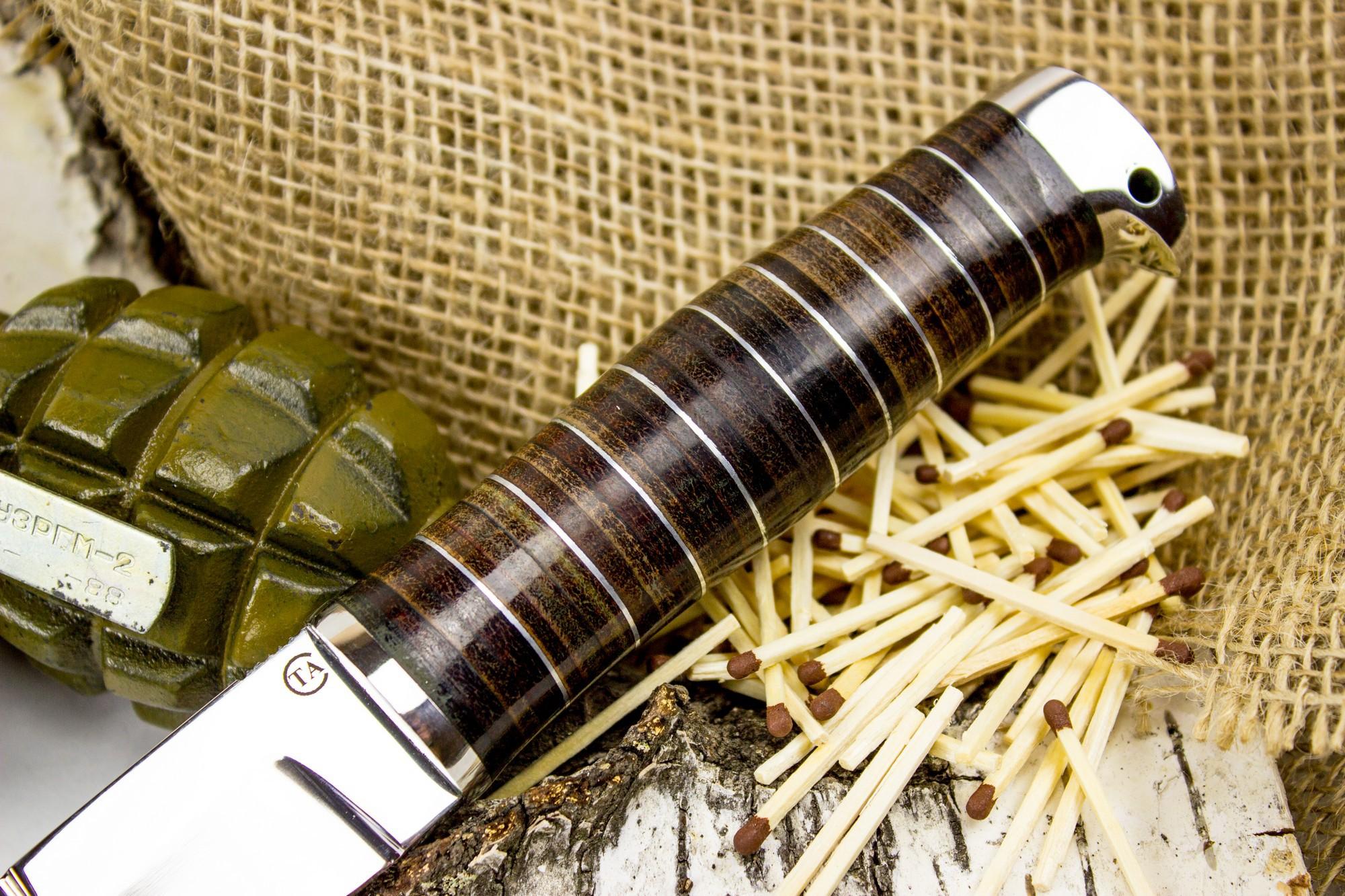 Фото 8 - Нож Пограничник, сталь 95х18, кожа от Титов и Солдатова