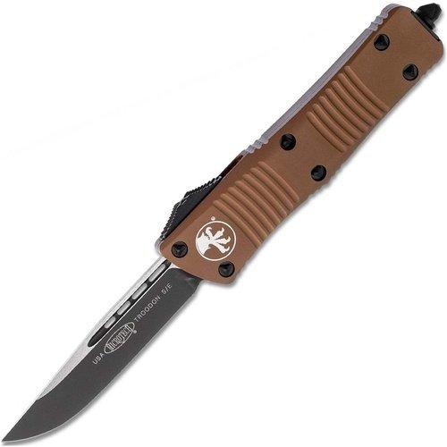 Автоматический фронтальный выкидной нож Microtech Troodon, клинок черный, сталь CTS-204P, рукоять пустынный алюминий