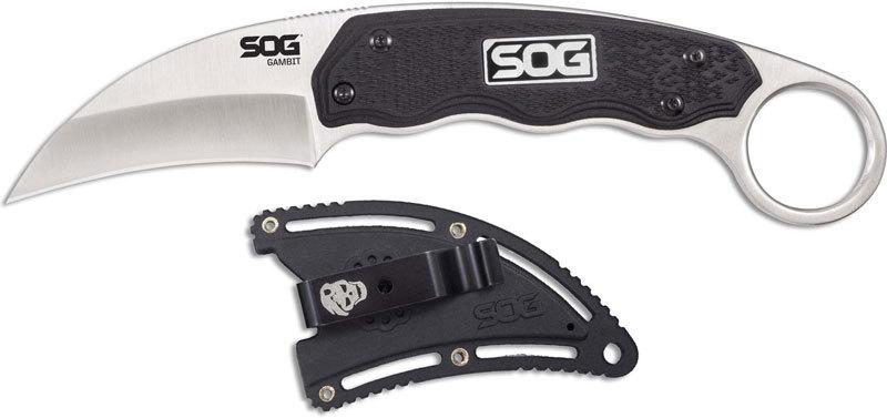 Фото 6 - Нож с фиксированным клинком Gambit 6.6 см - SOG GB1001, сталь 7Cr17MoV, рукоять пластик GRN