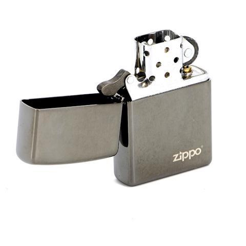 Зажигалка ZIPPO Classic с покрытием Black Ice®, латунь/сталь, чёрная, глянцевая, 36х12х56 мм. Вид 2