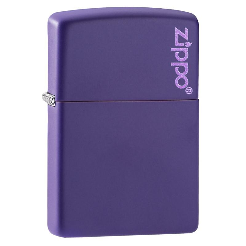 Зажигалка ZIPPO Logo Classic с покрытием Purple Matte, латунь/сталь, фиолетовая, матовая, 36x12x56 мм