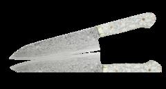 Нож Шеф Hiroo Itou, 180 мм, сталь R-2 в обкладках Damaskus, рукоять кориан белый
