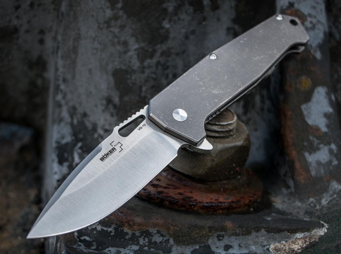 Фото 10 - Нож складной Jim Burke design Hitman - Boker Plus 01BO775, сталь VG-10 Satin Plain, рукоять титан