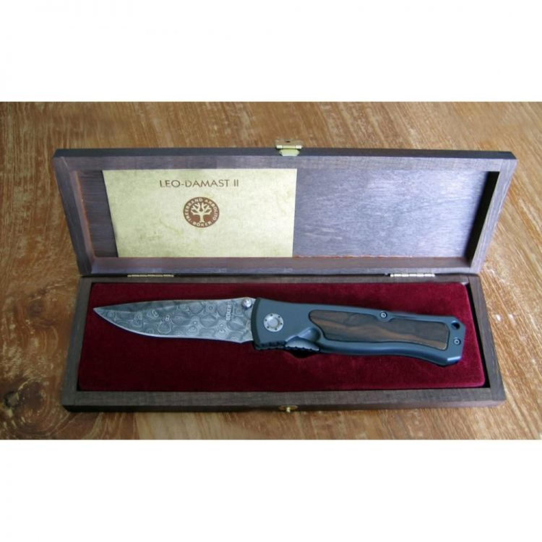 Фото 5 - Нож складной Leopard Damascus II - Boker 111054DAM, дамасская сталь Plain, рукоять анодированный алюминий/дерево, коричневый
