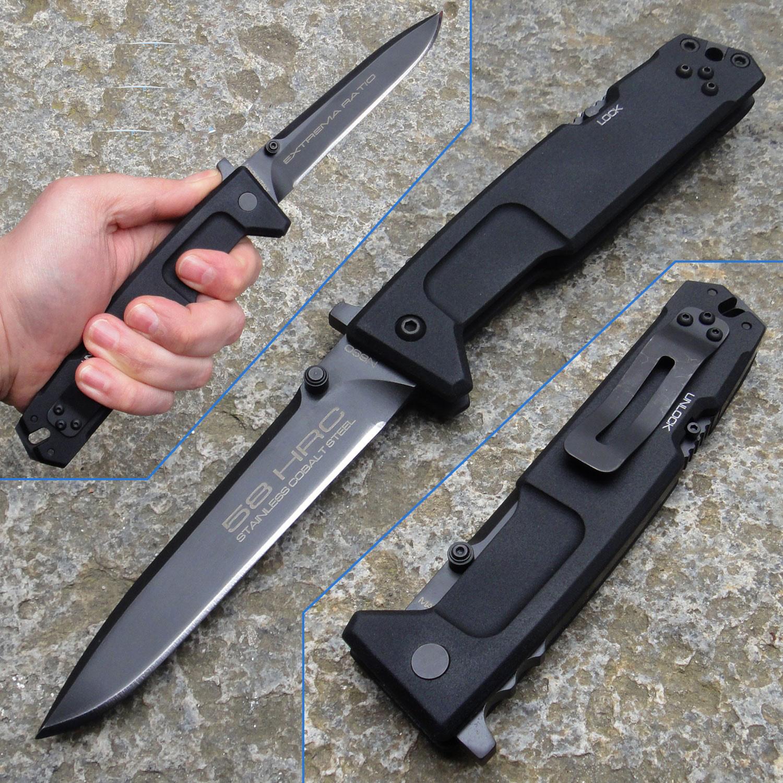 Складной нож Extrema Ratio Nemesis Black (Ruvido Handle), сталь Bhler N690, рукоять черный антикородал (алюминиевый сплав)