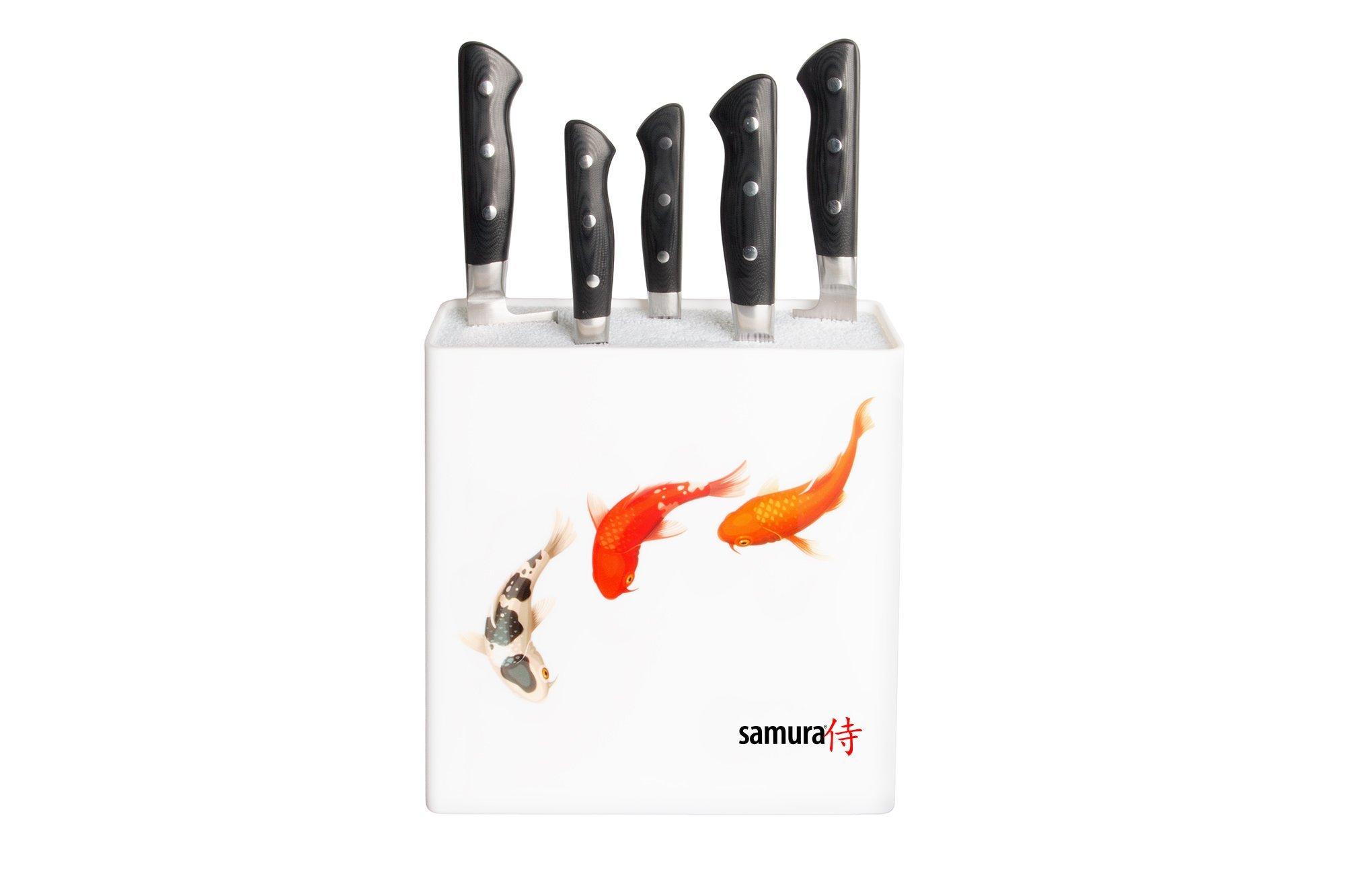 Подставка универсальная для ножей Samura, 230x225x82 мм, пластик (белая, рыбы)