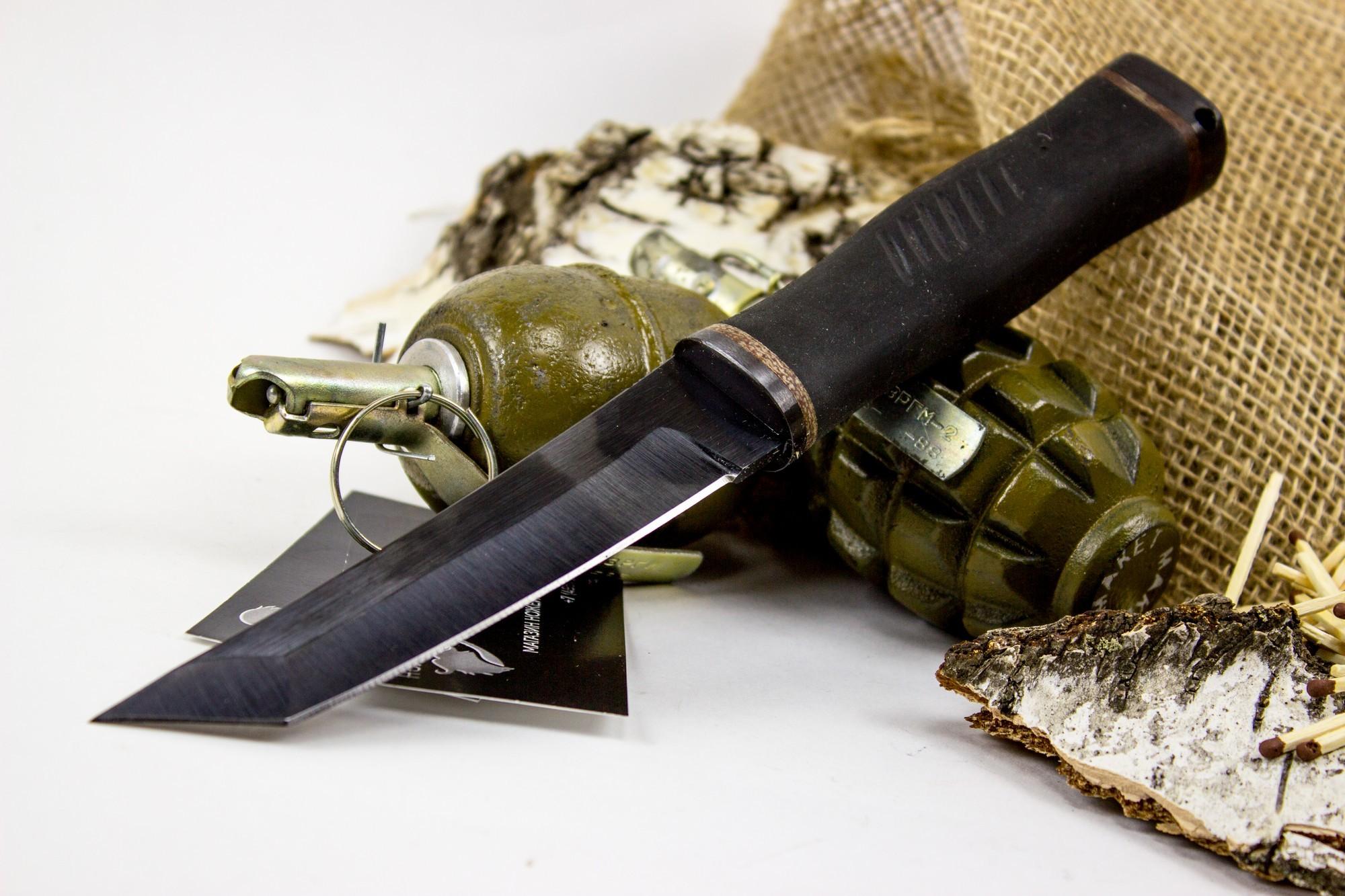 Фото 6 - Нож Кабан-1М, сталь 65Г, резина от Титов и Солдатова