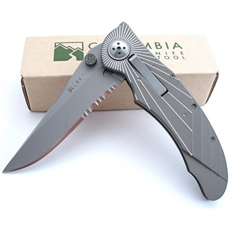 Фото 6 - Складной нож CRKT Elishewitz E-Lock Starlight Combo Edge, сталь Aus 8, рукоять алюминий
