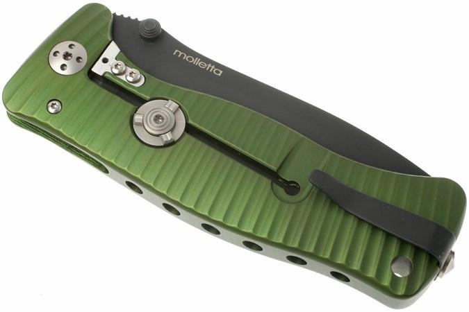 Фото 7 - Нож складной LionSteel SR1A GB, сталь D2, рукоять алюминий, зелёный от Lion Steel