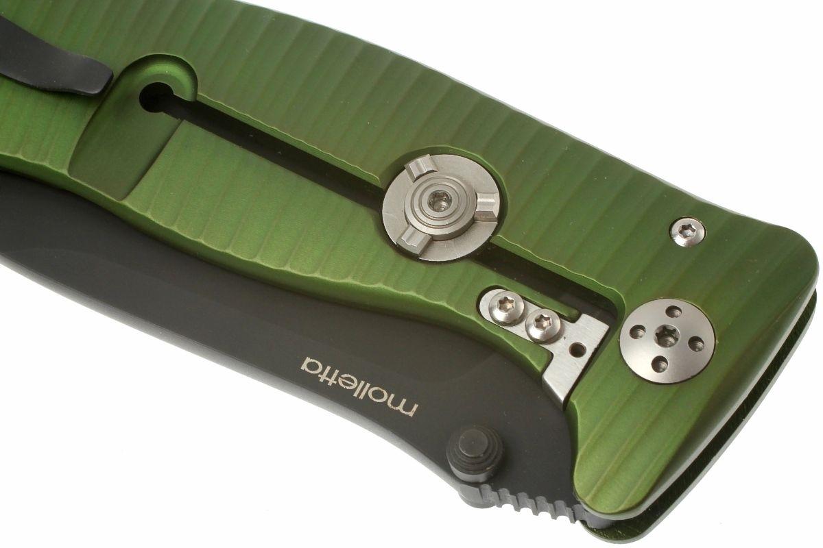 Фото 8 - Нож складной LionSteel SR1A GB, сталь D2, рукоять алюминий, зелёный от Lion Steel
