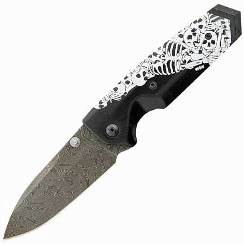 Складной нож Hogue EX-02 Spear Point, Custom Skulls & Bones, дамасская сталь Chad Nichols Damascus, рукоять ABS-Пластик, черно-белый