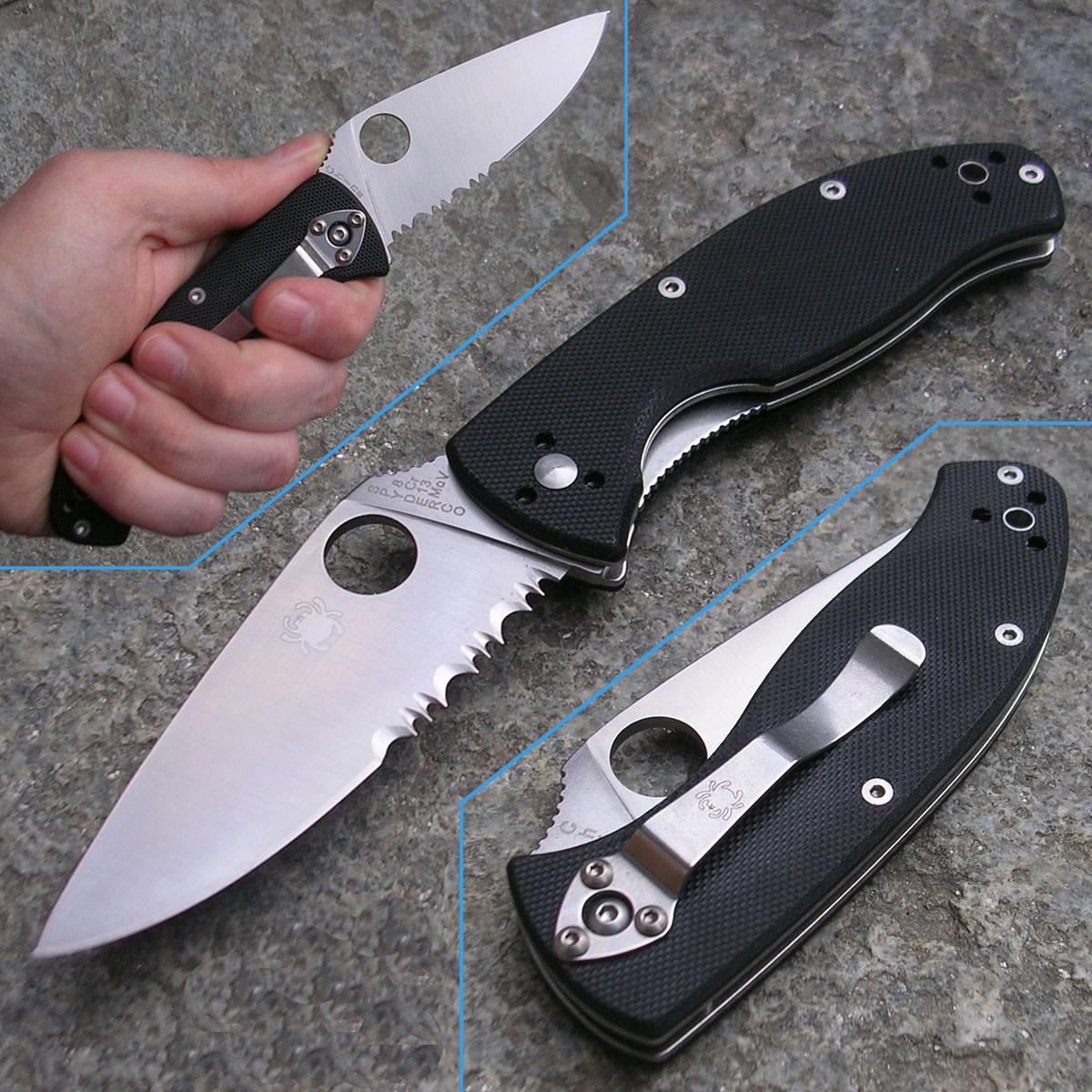 Фото 6 - Нож складной Tenacious Spyderco 122GPS, сталь 8Cr13MOV Satin Combo, рукоять стеклотекстолит G-10, чёрный