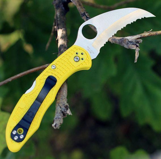 Фото 5 - Складной нож Tasman Salt 2 - Spyderco 106SYL2, сталь H1 Satin Serrated, рукоять термопластик FRN, жёлтый