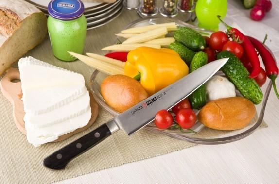 Фото 5 - Нож кухонный Samura PRO-S для нарезки - SP-0045, сталь AUS-8, рукоять G10, 200 мм