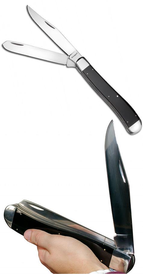 Фото - Нож складной большого размера с 2-мя лезвиями Magnum Majestic - Boker 01LL2076, сталь 440A Satin, рукоять ABS-пластик, чёрный