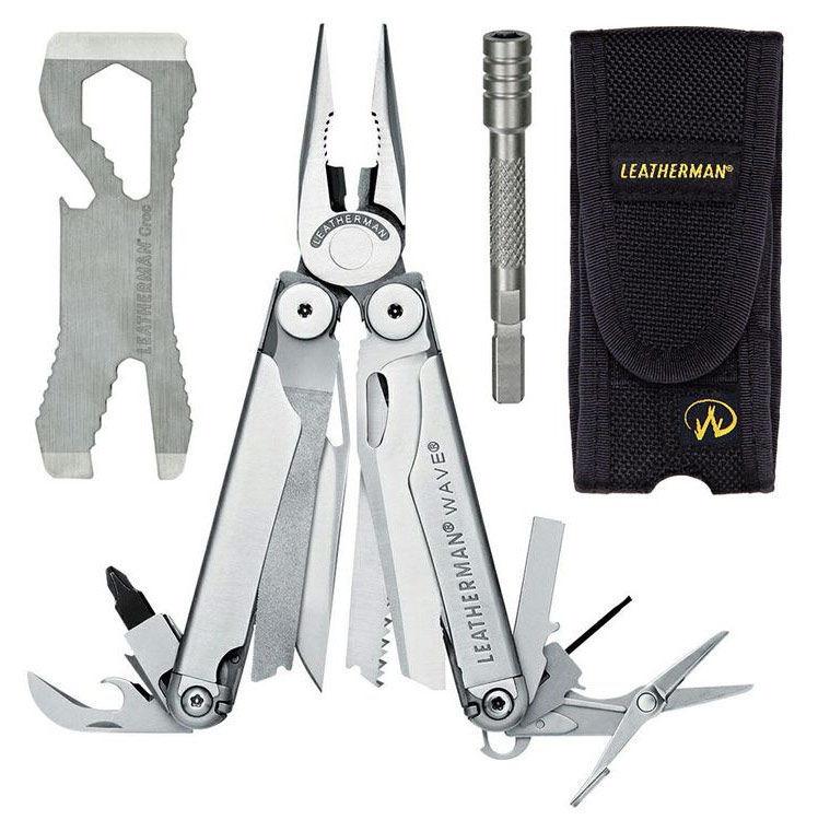 цена на Подарочный набор инструментов Leatherman Wave (831878) серебристый компл.:мультитул/удлинитель/чехол кожаный