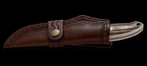 Нож с фиксированным клинком CRKT Brow Tine, сталь 9Cr18MoV, рукоять Резной олений рог. Вид 4