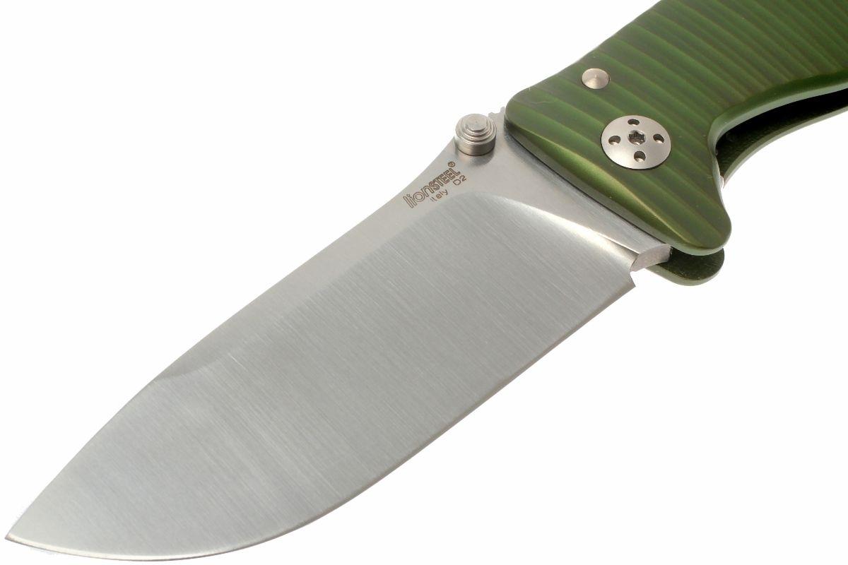 Фото 12 - Нож складной LionSteel SR1A GS GREEN, сталь D2 Satin Finish, рукоять алюминий (Solid®), зелёный от Lion Steel