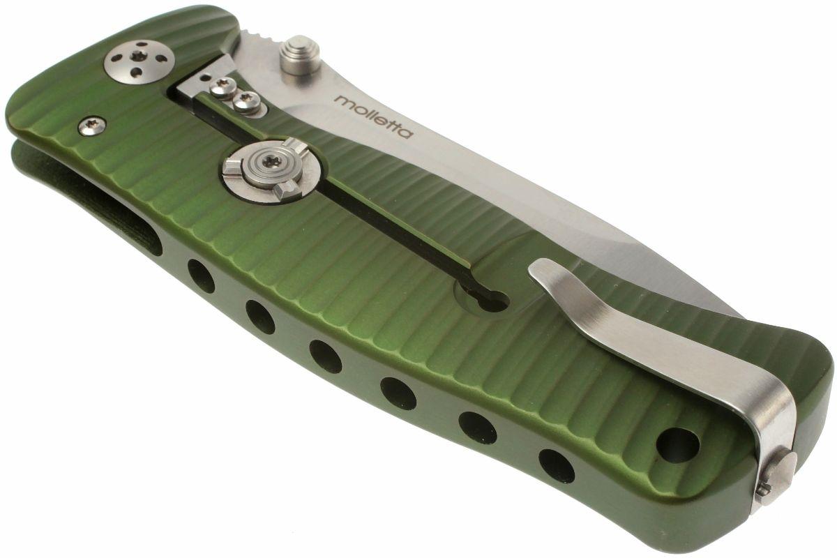 Фото 9 - Нож складной LionSteel SR1A GS GREEN, сталь D2 Satin Finish, рукоять алюминий (Solid®), зелёный от Lion Steel