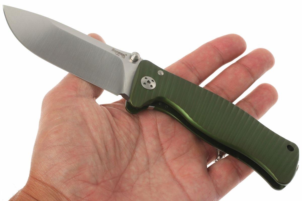 Фото 8 - Нож складной LionSteel SR1A GS GREEN, сталь D2 Satin Finish, рукоять алюминий (Solid®), зелёный от Lion Steel