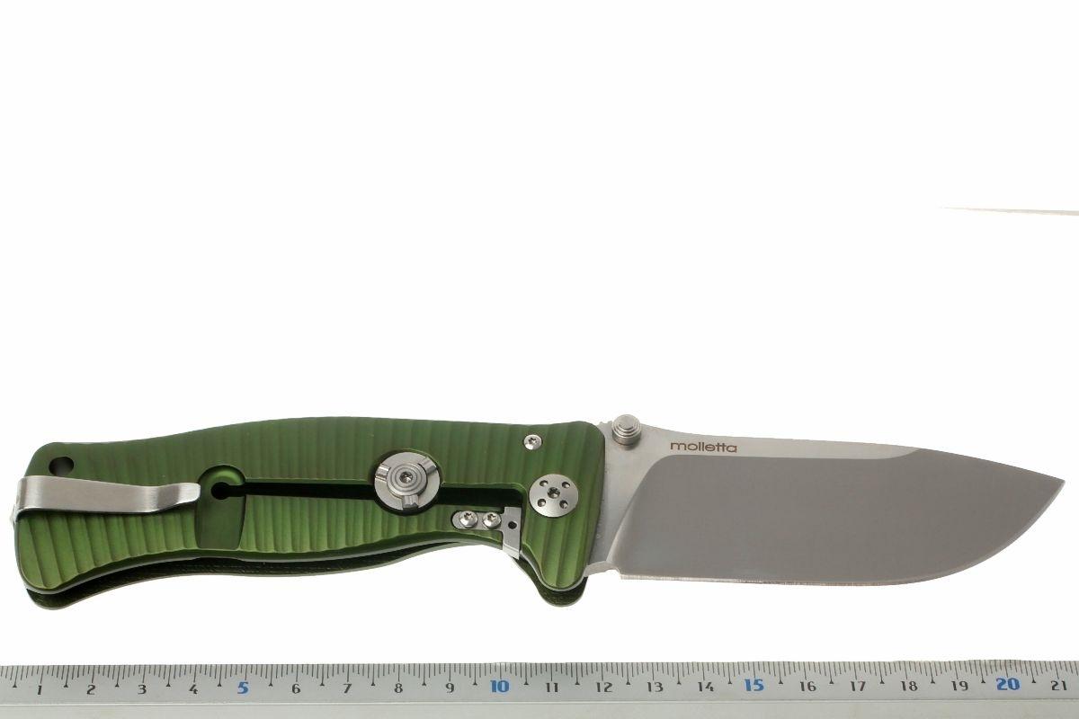 Фото 7 - Нож складной LionSteel SR1A GS GREEN, сталь D2 Satin Finish, рукоять алюминий (Solid®), зелёный от Lion Steel