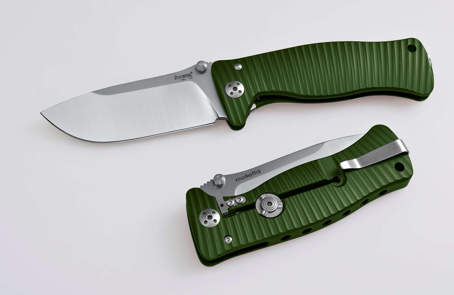 Фото 6 - Нож складной LionSteel SR1A GS GREEN, сталь D2 Satin Finish, рукоять алюминий (Solid®), зелёный от Lion Steel